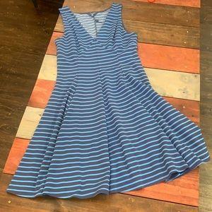 3 FOR $20 Peter Som Blue Striped Flare Dress 12